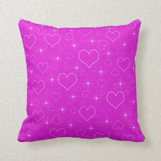 Bright Pink Hearts And Stars Throw Pillow