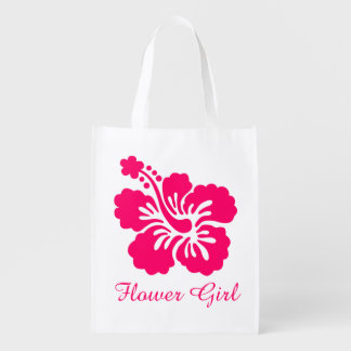 Bright Pink Hibiscus Flower Girl Favor Reusable Grocery Bag