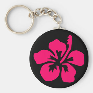 Bright Pink Hibiscus Key Ring
