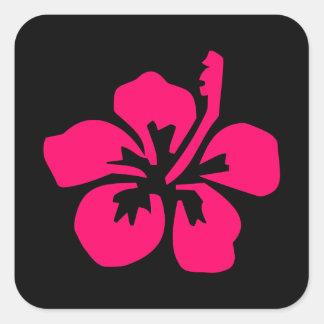 Bright Pink Hibiscus Square Sticker
