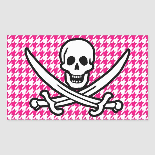 Bright Pink Houndstooth; Jolly Roger Pirate Rectangular Stickers