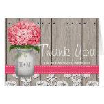 Bright Pink Hydrangea Monogram Mason Jar Thank You Note Card