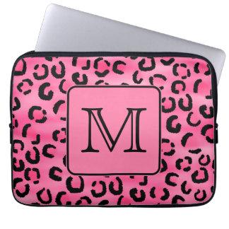 Bright Pink Leopard Print Custom Monogram. Laptop Sleeve