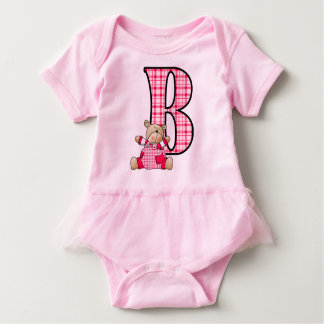 Bright Pink Letter B with Teddy Bear in Plaid Baby Bodysuit