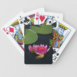Bright Pink Lotus Waterlilies Playing Cards