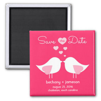 Bright Pink Love Birds Save the Date Magnet