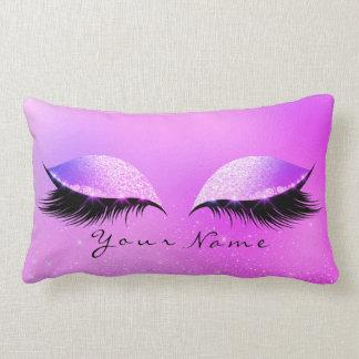Bright Pink Name Princess Beauty Lashes Makeup Lumbar Cushion