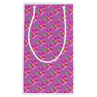 Bright pink, purple hand sewn flowers on magenta small gift bag