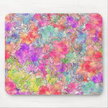 Bright Pink Red Watercolor Floral Drawing Sketch Mouse Pad
