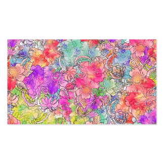 Bright Pink Red Watercolor Floral Drawing Sketch Pack Of Standard Business Cards