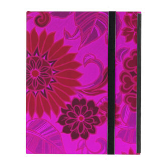 Bright Pink Retro Flowers iPad Cover