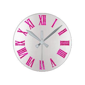 Bright Pink Rose Glitter Gray Silver Minimal Black Round Clock