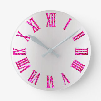 Bright Pink Rose Glitter Gray Silver Roman Numbers Round Clock