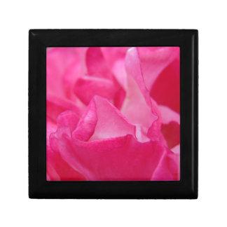 Bright Pink Rose Petals Small Square Gift Box
