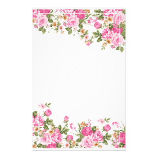 Bright Pink Roses and White Line Frame Stationery