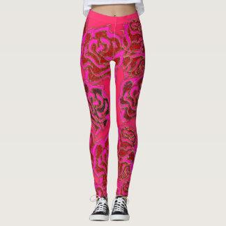 Bright Pink Roses elegant floral Leggigns Leggings
