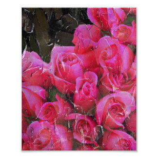 Bright Pink Roses Painted Photograph
