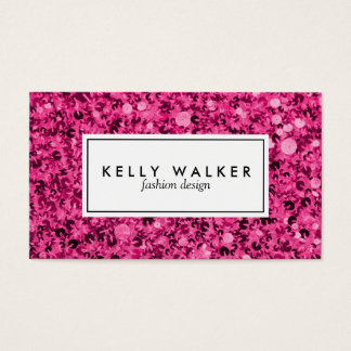 Bright pink sequin business card