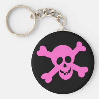 Bright Pink Skull & Crossbones Key Ring