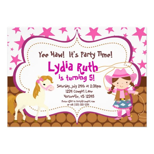 Bright Pink Star Cowgirl and Horse Birthday Party Personalized Invite