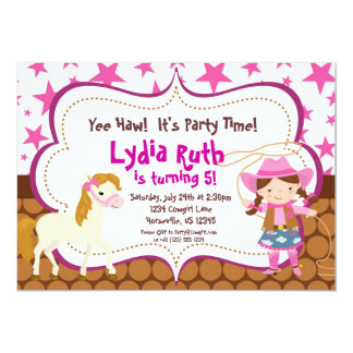 "Bright Pink Star Cowgirl and Horse Birthday Party 5"" X 7"" Invitation Card"
