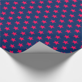 Bright Pink Stars on Navy Blue Wrapping Paper