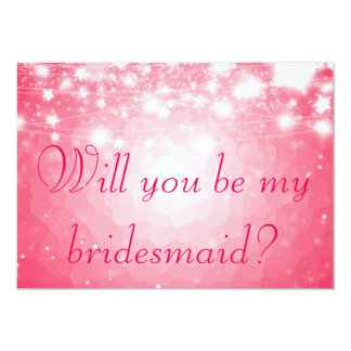 Bright Pink | Stars Will You Be My Bridesmaid Card