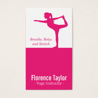Bright Pink Stretch Silhouette for Yoga Instructor Business Card