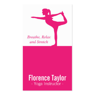 Bright Pink Stretch Silhouette for Yoga Instructor Pack Of Standard Business Cards