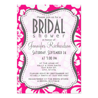 Bright Pink Tropical Hibiscus Flowers Invitations