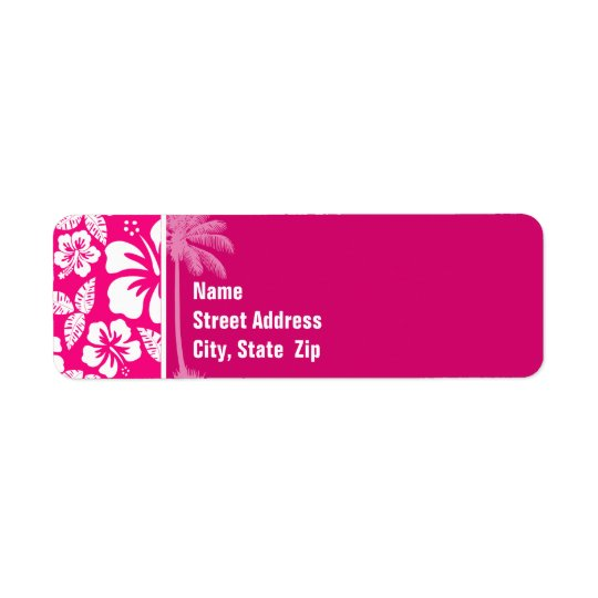 Bright Pink Tropical Hibiscus Return Address Label