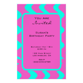 bright pink tuquoise party 14 cm x 21.5 cm flyer