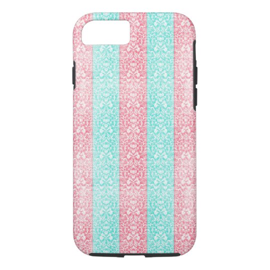 Bright Pink Turquoise Damask Ribbon Candy Kawaii iPhone 7 Case