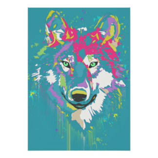 Bright pink turquoise modern artistic bold wolf poster