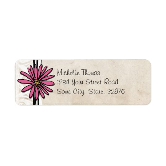 Bright Pink Vintage Daisy Wedding Address Return Address Label