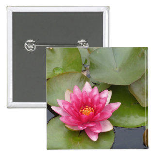 Bright Pink Water Lily Flower Button