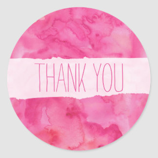 Bright Pink Watercolor Thank You Sticker
