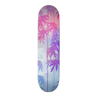 Bright pink watercolor tropical palm tree pattern skate deck