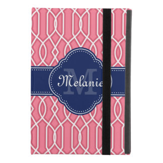 Bright Pink Wht Trellis Pattern Navy Monogram iPad Mini 4 Case