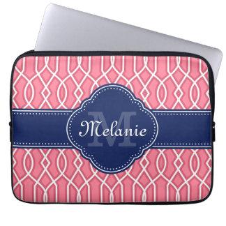 Bright Pink Wht Trellis Pattern Navy Monogram Laptop Sleeve