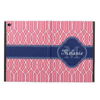 Bright Pink Wht Trellis Pattern Navy Monogram Powis iPad Air 2 Case