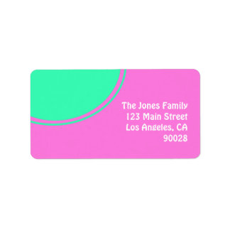bright pink with green circle address label