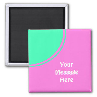 bright pink with green circle square magnet