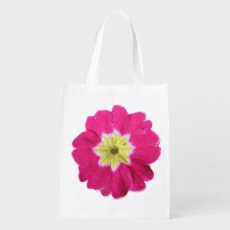 bright pink yellow flower pop art design garden reusable grocery bag