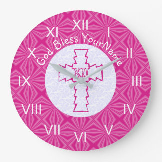 Bright Pink Zig Zag Cross on Hot Pink and White Wallclocks
