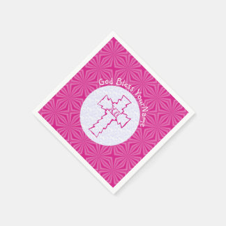 Bright Pink Zig-Zag Cross on Pink And White Paper Napkin