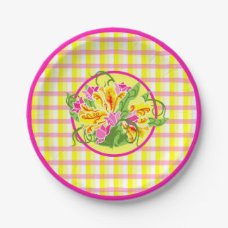 Bright Plaid & Tulip Plate