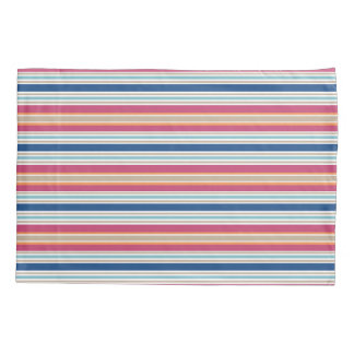 Bright Preppy Colors Red Blue Stripe Pillowcase