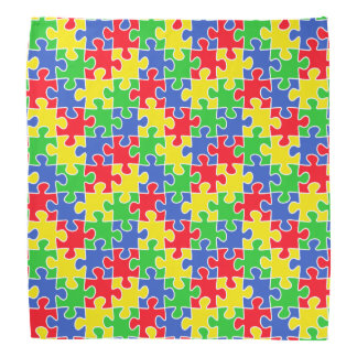 Bright Primary Colors Jigsaw Puzzle Pieces Bandana