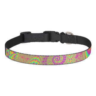 Bright Psychedelic Infinite Spiral Fractal Art Pet Collar